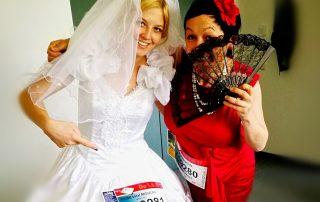 Kostümprobe mit Braut für die Rewe TeamChallenge 2017