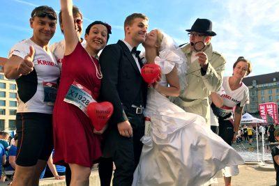Das KRIMI total MUSICAL Team mit Braut zur Rewe TeamChallenge 2017