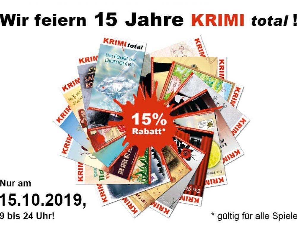 Wir feiern: 15 Jahre KRIMI total – 15 % Rabatt